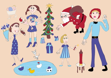 illustrates: image in the style of childrens drawings illustrates a meeting of New Year and Christmas holidays, a large family.