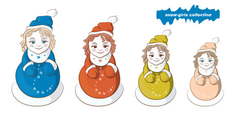 snow maiden: Image with four snowmen, the Snow Maiden or dolls Illustration