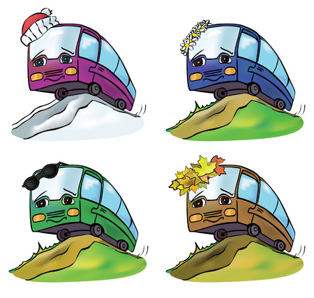 anthropomorphous: cheerful multicolored bus travels throughout the year from season to season