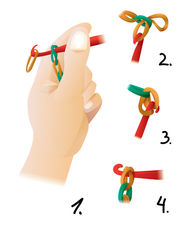 craze: The process of weaving bracelet gum - a new fashion craze teenage girls. The illustration shows the step by step instructions for weaving