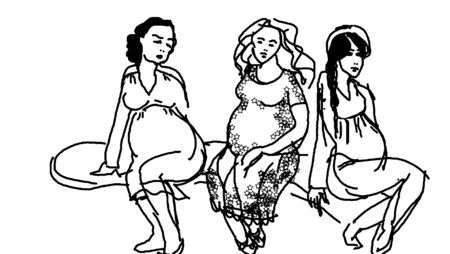 lovely pregnant woman: Three lovely pregnant woman waiting at the antenatal clinic