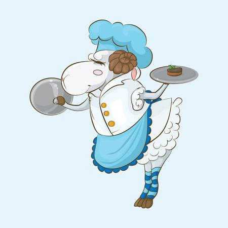 fiambres: Ovejas chef prepara un canapé con paté de hígado. Para su comodidad, cada elemento significativo es en una capa independiente Vectores