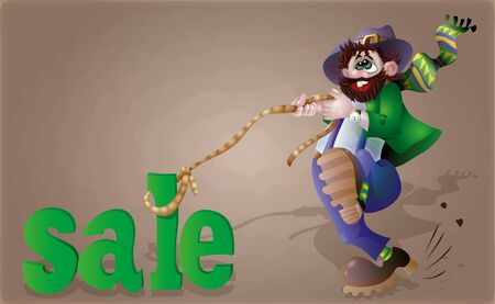 A bearded man, like a leprechaun, caught in the noose sale. illustration seasonal discounts. For your convenience, each significant element is in a separate layer Illustration