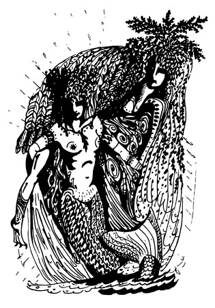 sea nymph: Black and white graphics: two mermaid - two archaic spirit of nature