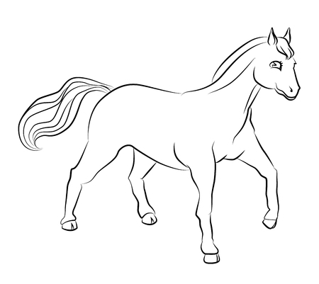 horsehair: black and white horse image - perfect for childrens coloring books and not only