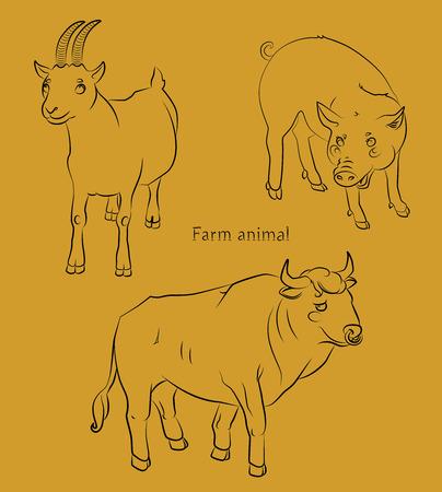 黒と白の画像、雄牛のブタやヤギ - 子供のぬりえに適してだけでなく。あなたの便宜のためそれぞれの重要な要素は、個別のレイヤーです。