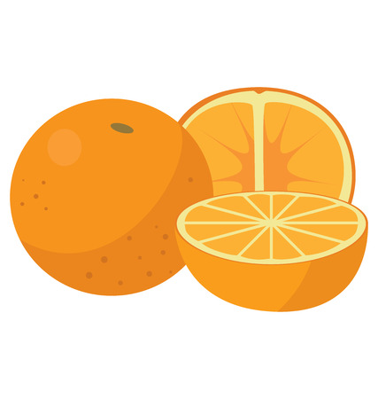 Three oranges: the whole fruit, cut lengthwise and sliced crosswise. For your convenience, each significant element is in a separate layer Illustration