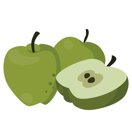 three layer: Still life of three juicy green apples, for flat style icons. For your convenience, each significant element is in a separate layer Illustration