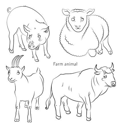 黒と白の画像、雄牛のブタ、ヒツジとヤギ - 子供のぬりえに適してだけでなく。あなたの便宜のためそれぞれの重要な要素は、個別のレイヤーです