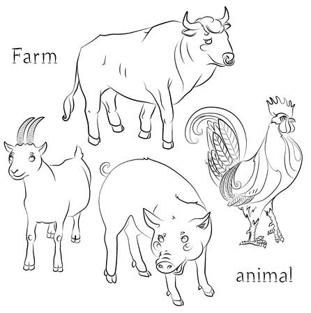 黒と白の画像、雄牛のコック、ブタおよびヤギ - 子供のぬりえに適してだけでなく。あなたの便宜のためそれぞれの重要な要素は、個別のレイヤー