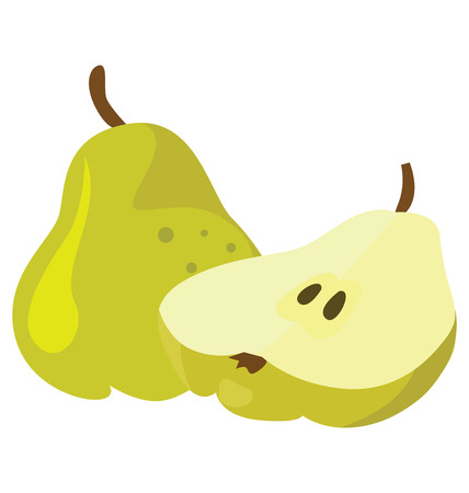 Two ripe pears - whole and broken. For your convenience, each significant element is in a separate layer
