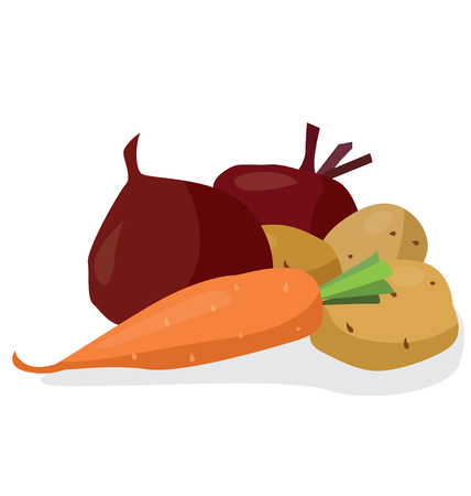 Vegetables: beets, potatoes, carrots. For your convenience, each significant element is in a separate layer Illustration