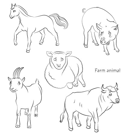 black and white image of a bull, pig, sheeep, horse and goat - suitable for a child's coloring, and not only. For your convenience, each significant element is in a separate layer.