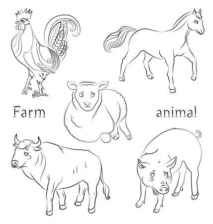黒と白の画像、雄牛の鶏、豚、馬、羊 - 子供のぬりえに適してだけでなく。あなたの便宜のためそれぞれの重要な要素は、個別のレイヤーです。