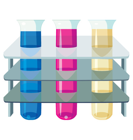 with liquids: three test tubes with colorful liquids. Illustration