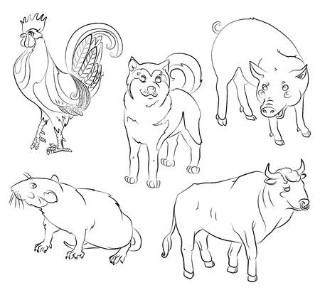 5 中国のカレンダー動物、酉、犬、ブタ、ラット、牛。あなたの便宜のためそれぞれの重要な要素は、個別のレイヤーです。