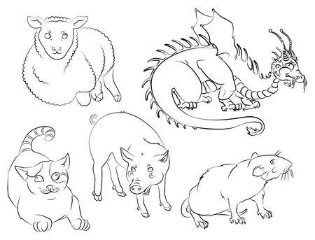 5 つの中国のカレンダー動物: 猫ドラゴン、ラット、ブタ、羊。あなたの便宜のためそれぞれの重要な要素は、個別のレイヤーです。