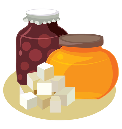 carbohydrates: Sugar, honey, jam - simple carbohydrates. For your convenience, each significant element is in a separate layer. Illustration