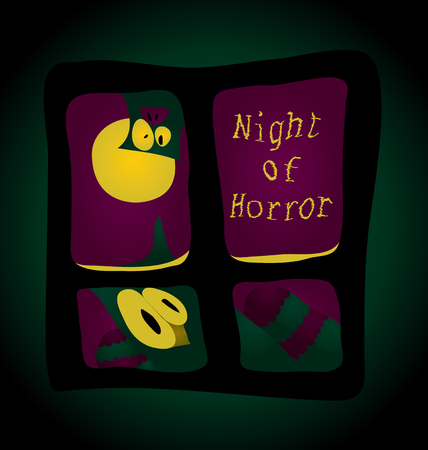 night out: Night terror - you stare out the window a strange creature Illustration