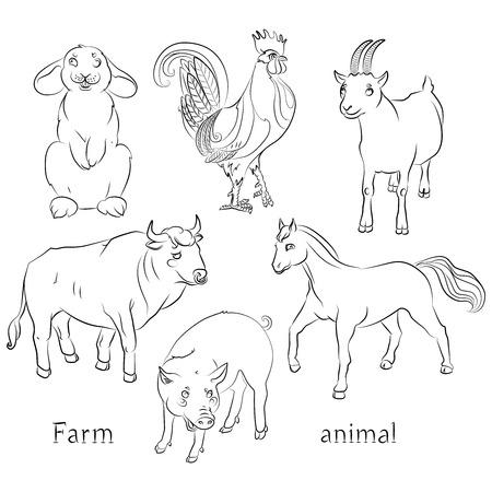 黒と白の画像、雄牛のコック、ヤギ、豚、馬、ウサギ - 子供の着色に最適。  イラスト・ベクター素材
