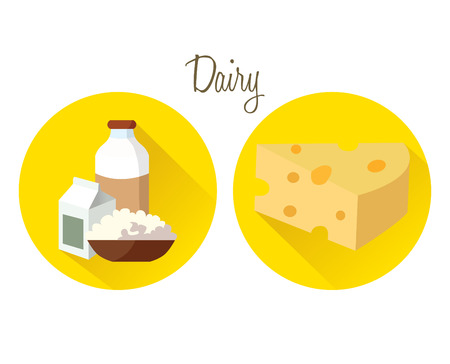 cottage cheese: Milk bottle, yogurt and cottage cheese in cardboard - a set of useful products