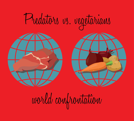 carnivores: Original feed global confrontation - the two hemispheres of the earth divided into carnivores and vegetarians.