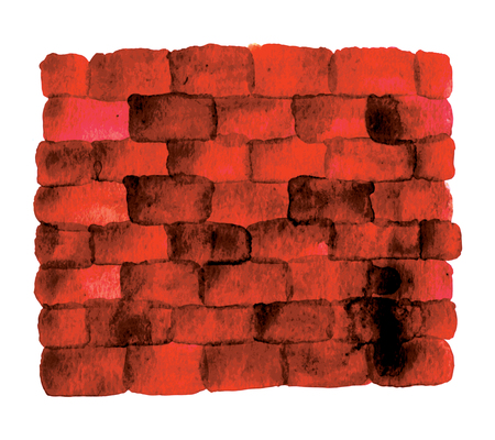 Brick wall - an experiment with a new method of tracing watercolor.
