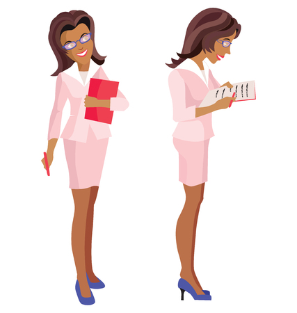 business suit: Woman in a  business suit and glasses.
