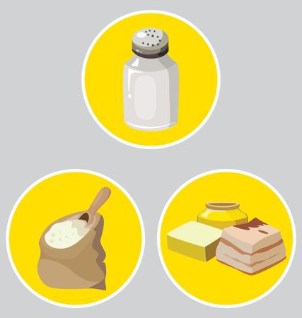 medical fight: salt, semolina, refractory fats- food is harmful to the intestines. vector illustration. Illustration