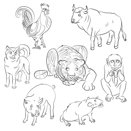 7 中国語カレンダー動物、酉、犬、ブタ、ラット、猿、虎、牛。ベクトル イラスト。