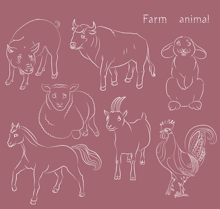 image of a bull, cock, goat, pig, horse, sheep and rabbit - suitable for a child's coloring. vector illustration.  イラスト・ベクター素材