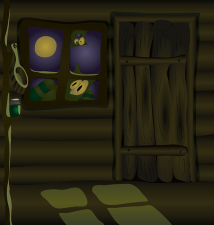 wooden shelf: This terrible hut must be owned by a witch. on a wooden shelf is a potion. Moonlight falls through the window. And someone is looking at you.