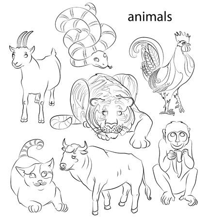 7 中国のカレンダー動物、鶏、猫、蛇、猿、ヤギ、タイガーと牛。ベクトル イラスト。