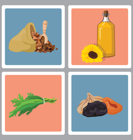 potherb: grains, herbs and dried fruits, oil - useful products. For your convenience, each significant element is in a separate layer. Eps 10 Illustration