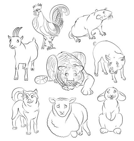 犬、コック、ヤギ、豚、羊、トラ、ラットおよびウサギ - 子供のぬりえに適してだけでなくのイメージ。あなたの便宜のためそれぞれの重要な要素  イラスト・ベクター素材