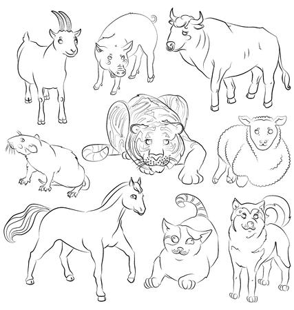 猫、犬、ヤギ、馬、豚、ネズミ、羊、虎 - 子供のぬりえ、適切かつだけでなく、牛のイメージ。あなたの便宜のためそれぞれの重要な要素は、個別  イラスト・ベクター素材