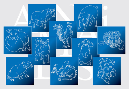 Nine Chinese calendar animals Bull, cock, dog, dragon, pig, rabbit, rat, sheep, snake, tiger. For your convenience, each significant element is in a separate layer. eps10