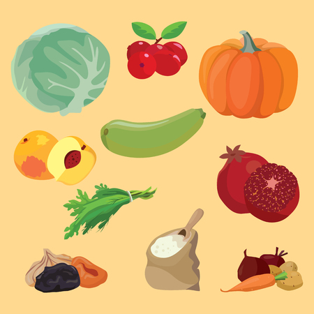 Vegetarian foods: Vegetables, berries, fruits, dried fruits, greens, cereals. For your convenience, each significant element is in a separate layer. Eps 10