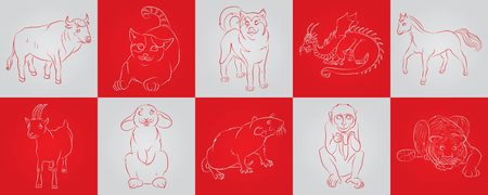 image of a bull, cat, dog, dragon, goat, horse, monkey, rabbit, rat, tiger- suitable for a childs coloring, and not only. For your convenience, each significant element is in a separate layer.