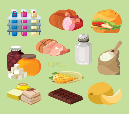 Fast food, sausages, heavy foods, fast carbohydrates, smoked products, GMOs, salt, refractory fats, chocolate, chemical additives, semolina - harmful products. Vectores