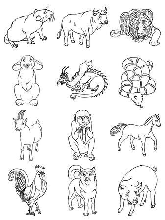 Chinese calendar animals  Bull, cock, dog, dragon, pig,  rat, rabbit, goat, snake, tiger, horse, monkey. For your convenience, each significant element is in a separate layer. eps10  イラスト・ベクター素材