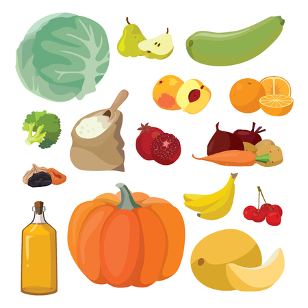 Vegetarian foods Vegetables, fruits, berries, cereals, oil. For your convenience, each significant element is in a separate layer. Eps 10