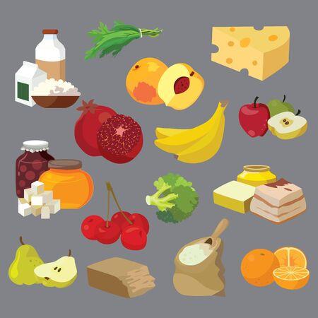 Comida. Productos lácteos, grasas, dulces, frutas, verduras, bayas, cereales. Para su conveniencia, cada elemento significativo está en una capa separada. Eps 10