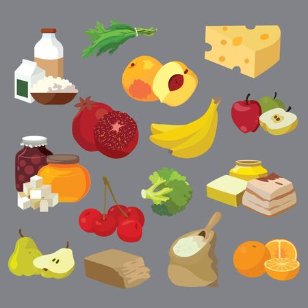 Food. Dairy products, fats, sweets, fruits, vegetables, berries, cereals. For your convenience, each significant element is in a separate layer. Eps 10
