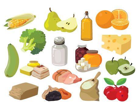 Food. Fruits, vegetables, fats, meat, cereals, dairy products. For your convenience, each significant element is in a separate layer. Eps 10 Stok Fotoğraf - 139164582