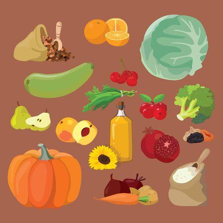 Vegetables, fruits, berries, cereals, oil - vegetarian food