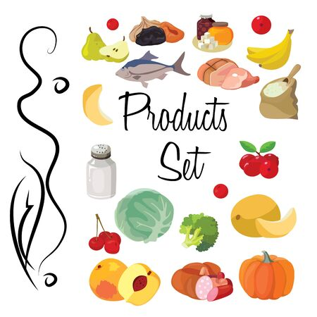 Food. Fruits, vegetables, fats, meat, cereals, dairy products. For your convenience, each significant element is in a separate layer. Eps 10 Ilustracja