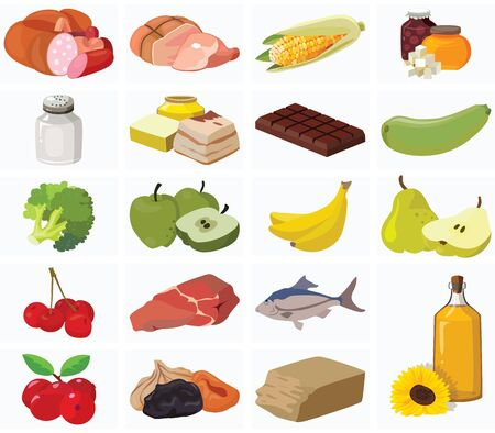 Food. Fruits, vegetables, fats, meat, cereals, dairy products. For your convenience, each significant element is in a separate layer. Eps 10 Illustration