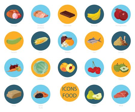 Food. Fruits, vegetables, fats, meat, cereals, dairy products. For your convenience, each significant element is in a separate layer. Eps 10 向量圖像
