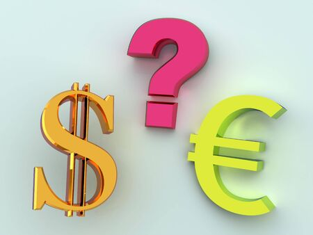 Dollar or euro. 3d photo